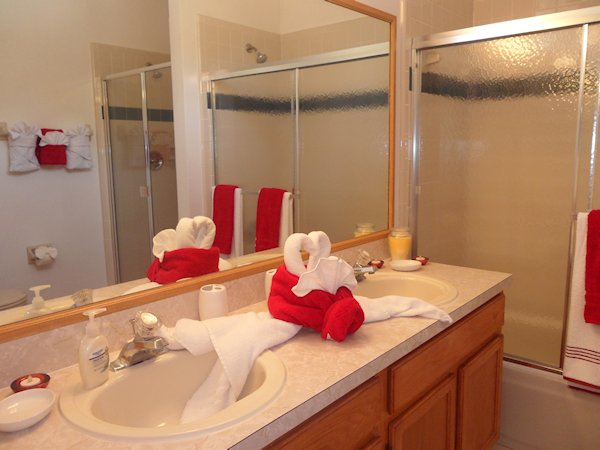 Double showered Bathroom with tub And His & Her Vanity Units