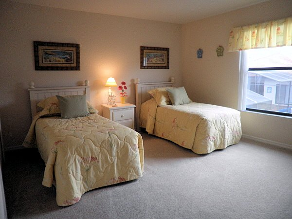 One of the two twin rooms