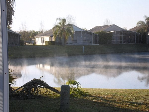 Morning mist over the lake.