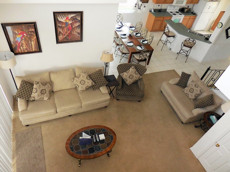 Overview of Living Room, Dining Room and Kitchen